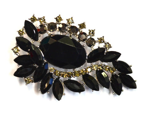 Onyx with Silver Gems Brooch
