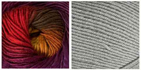 (PREORDER) LIGHT GREY + ORCHID - Embossed Fall Pocket Shawl KIT