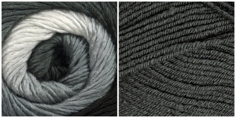 DARK GRAY + PLATINUM - Embossed Phoenix Vortex Shawl KIT - Bonita Patterns