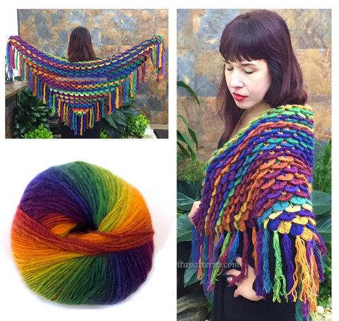 KIT - Crocodile Stitch Shawl Over the Rainbow
