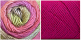 (100% ACRYLIC) FUCHSIA + TULIP - Embossed Fall Pocket Shawl KIT
