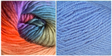 (100% Acrylic) BLUE + ZINNIA - Embossed Natura Shawl KIT