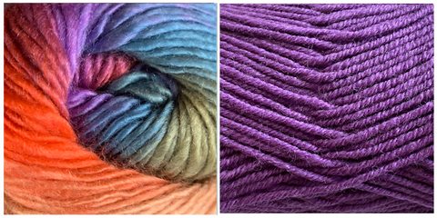 DARK LILAC + ZINNIA (100% ACRYLIC) - Embossed Natura Shawl KIT