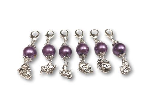 Zodiac Z1 - Ref #005 Set of 6 stitch markers - Bonita Patterns