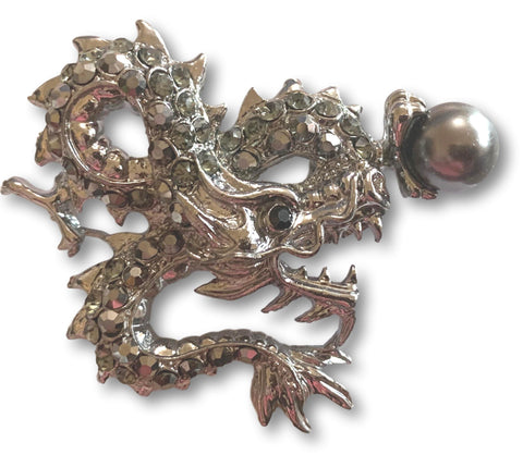 Antique Silver Dragon with Pearl Brooch - Bonita Patterns