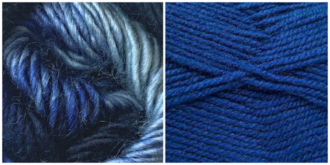 ROYAL BLUE + BLUE SKIES - Embossed Phoenix Vortex Shawl KIT
