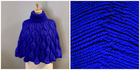 KIT Embossed Leaves Capelet - Royal Blue - Solid Colorful - Bonita Patterns