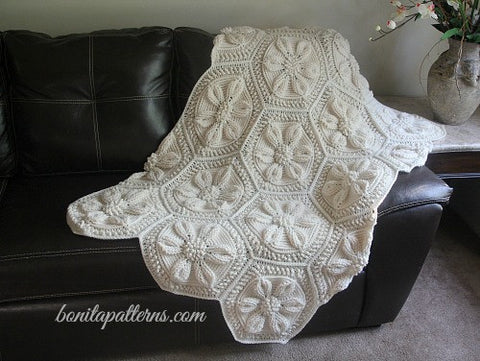 Embossed Daisy Blanket Crochet Pattern - PF - Bonita Patterns