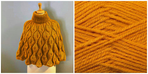 KIT Embossed Leaves Capelet - Mustard - Solid Colorful