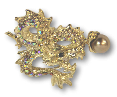 Golden Dragon with Pearl Brooch - Bonita Patterns