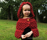 Crocodile Stitch Hooded Cape (baby & kids) - Bonita Patterns
