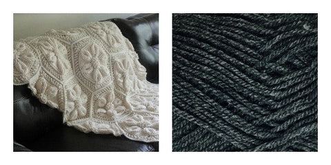 KIT Dark Grey - Embossed Daisy Blanket - Bonita Patterns