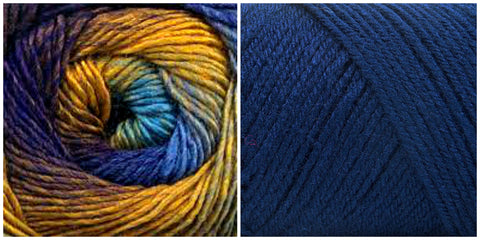 NAVY + PEACOCK - PREORDER Embossed Phoenix Vortex Shawl KIT