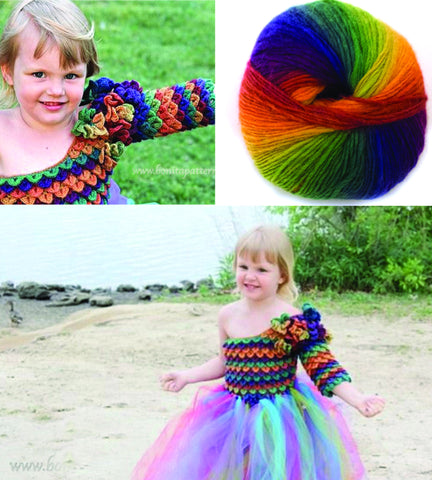 Crocodile Stitch Rainbow Princess Dress Ages 2-3