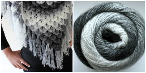 KIT Crocodile Stitch Shawl - Platinum Shades - Bonita Patterns