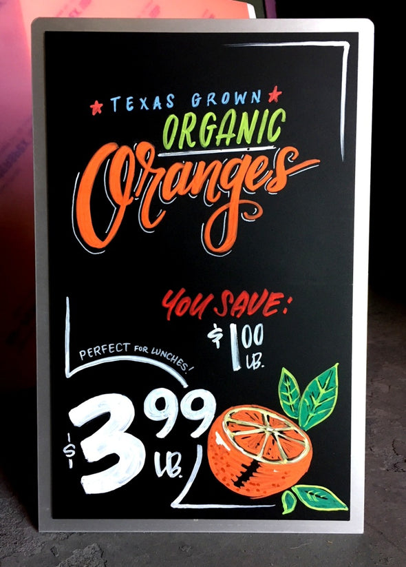 Image of Chalk Ink countertop chalkboard with organic oranges artwork using Chalk Ink 6mm Astroturf Green marker
