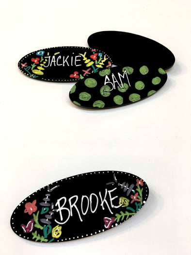 Oval Chalkboard Name Tags