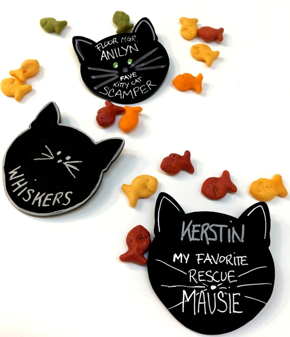 Meow Cat Head Shaped Chalkboard Name Tags - set of 5