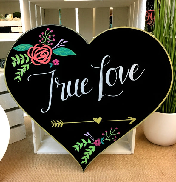 Image of Chalk Ink heart shaped chalkboard with flowers and words true love artwork using Chalk Ink 6mm Astroturf Green marker