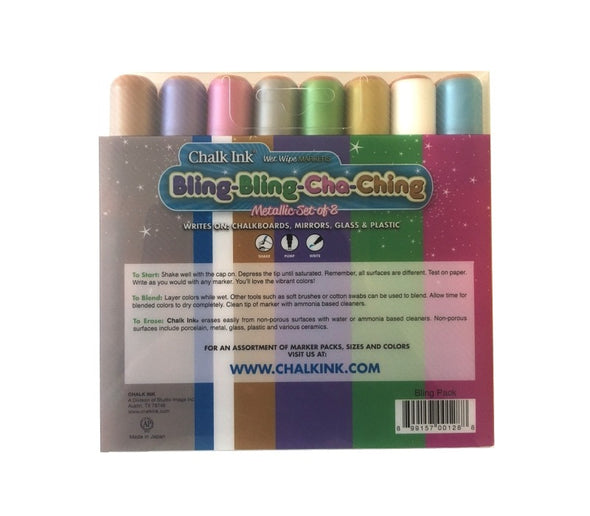 Back image of the product Chalk Ink 6mm Bling Bling Cha Ching 8 Pack of metallic markers
