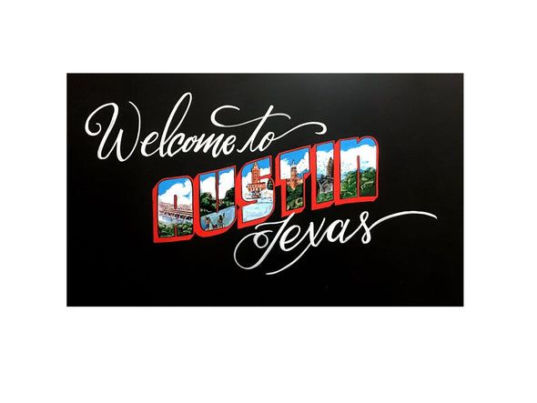 Image of welcome to Austin Texas artwork using Chalk Ink 6mm Astroturf Green Artista Pro chalk markers