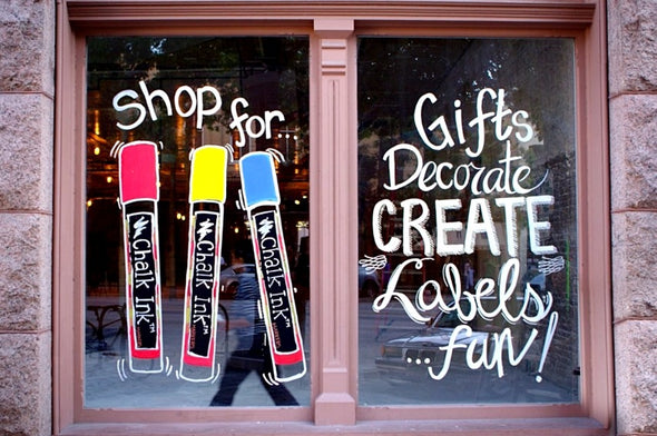 Image of shop window graphic using Chalk Ink artista pro markers