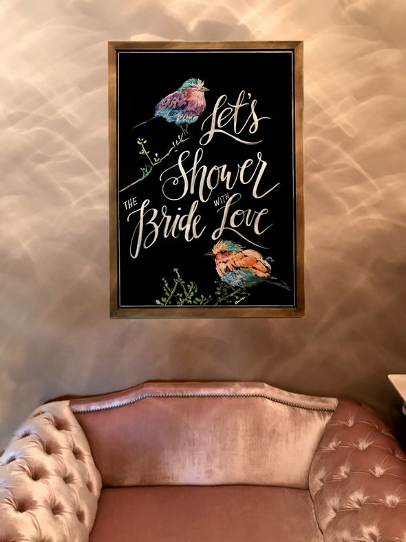 Image of Chalk Ink chalkboard with bridal shower artwork using Chalk Ink 6mm Astroturf Green marker