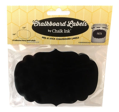 Adhesive Fancy Oval Chalkboard Label, Set of 10