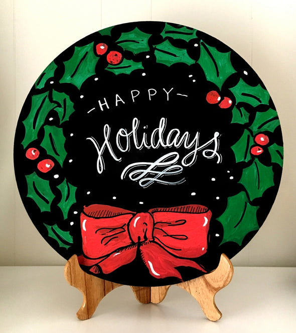 Image of Chalk Ink circle chalkboard with holiday wreath artwork using Chalk Ink 6mm Astroturf Green marker