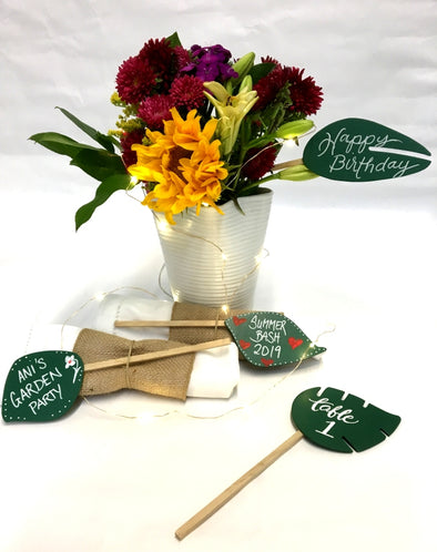 Leaf Stake Signs set of 4 Assorted