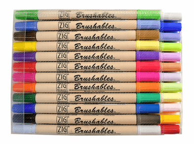 Image of the product Zig Brushable Markers, 24 Pens/48 Colors
