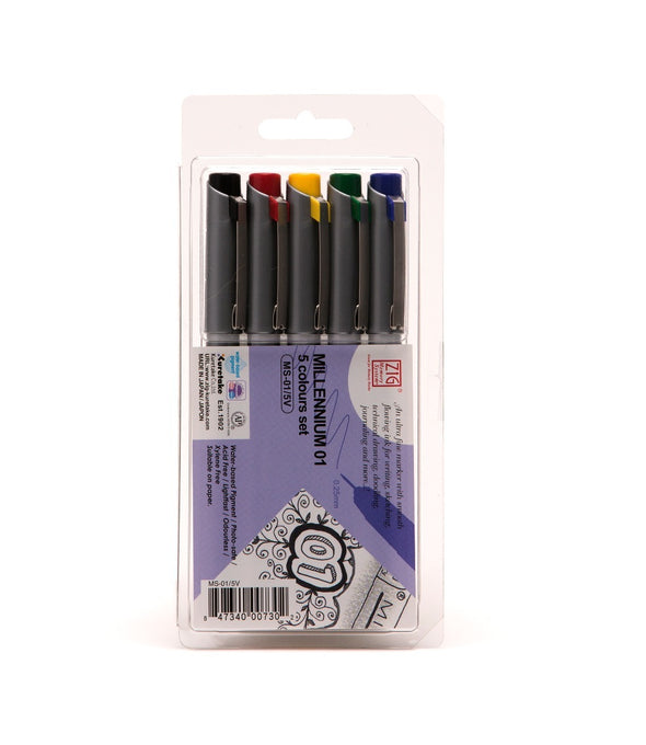 Image of the product Zig Millennium .25mm nib Calligraphy, Set of 5 Colors