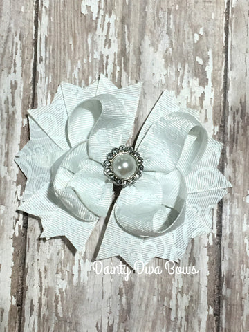 Classic White Swirl Hair Bow with Pearl Center