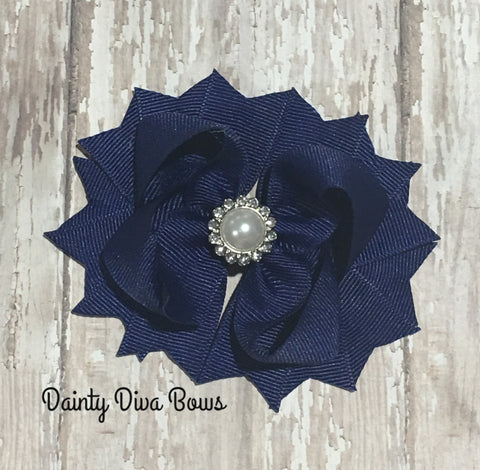 Classic Navy Hair Bow with Pearl Center