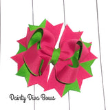 Hot Pink and Lime Green Boutique Hair Bow