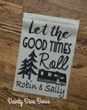 Personalized Camping Burlap Garden Flag, Motorhome, RV, Fifth Wheel Camper, Camping Welcome Flag