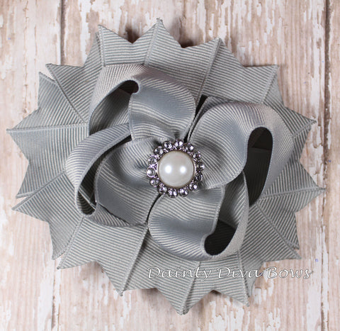 Classic Gray Hair Bow with Pearl Center