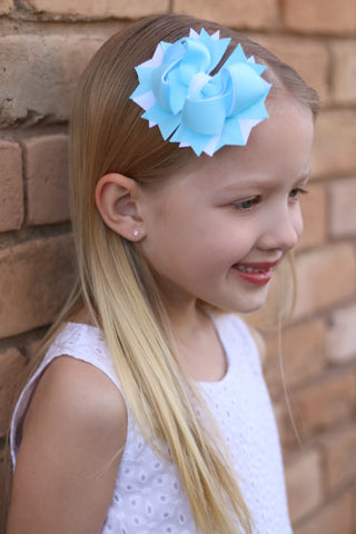 Light Blue Boutique Hair Bow with Pearl Center