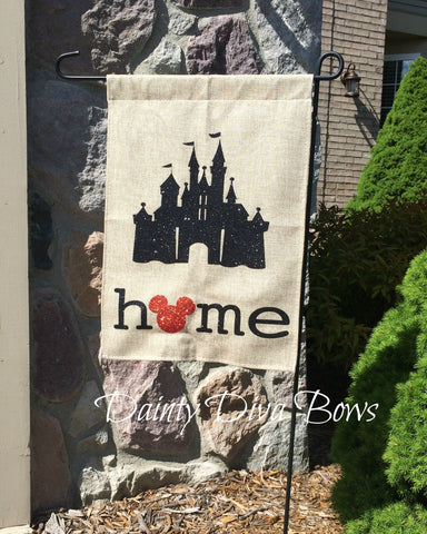 Disney Castle Burlap Garden Flag