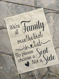 Wedding Choose A Seat Sign Burlap Flag