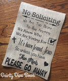 No Soliciting Burlap Garden Flag