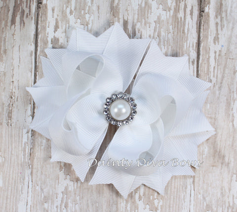 White Classic Hair Bow with Pearl Center