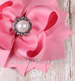Pink Classic Hair Bow with Pearl Center
