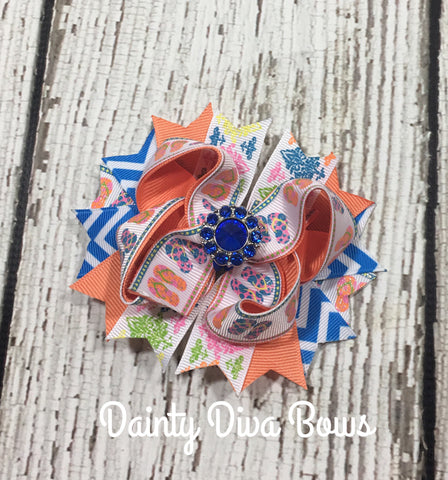 Summer Flip Flop Print Hair Bow