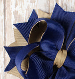 Navy and Khaki Classic Hair Bow