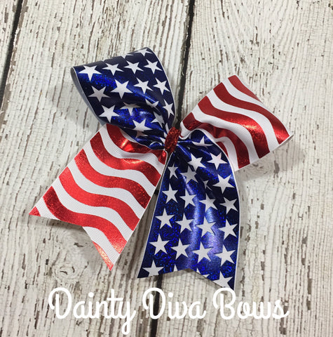 Fourth of July American Flag Cheer Bow, 4th of July