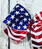Patriotic Flag Hair Bow - XL Size - 6 Inches