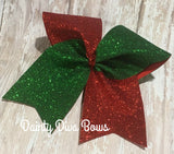Christmas Red and Green Large Glitter Cheer Bow