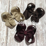 SET OF THREE, 3 Inch Hair Bows - Khaki, Burgundy and Brown Set