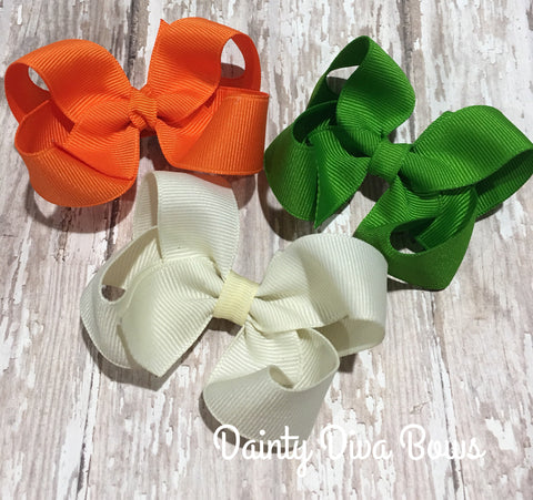SET OF THREE, 3 Inch Hair Bows - Green, Ivory and Orange
